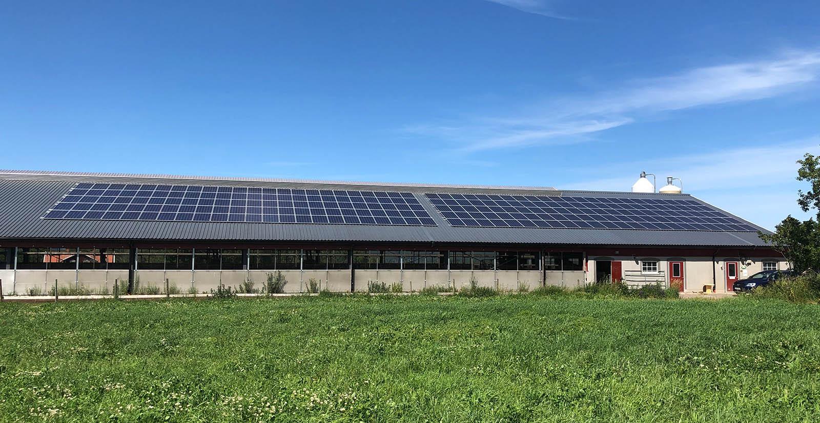Solceller Tranås. Solpaneler på taket av en fastighet.