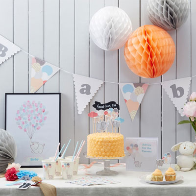 Tema till baby shower dekorationer