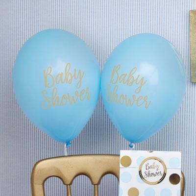 Blå ballonger till babyshower