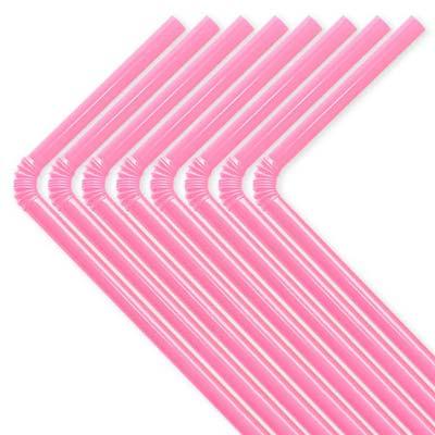 Rosa plastsugrör som går att böja