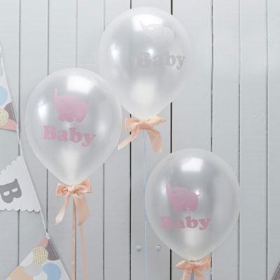 Halvt genomskinliga ballonger till baby shower