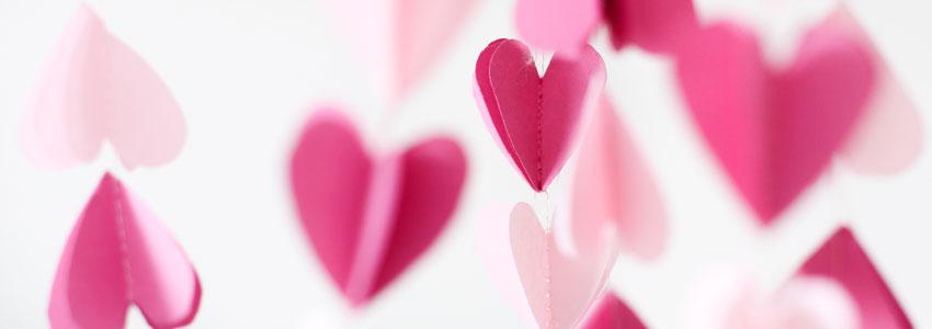 3D girlang med hjärtan