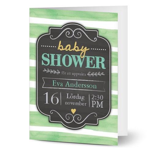 Randigt inbjudningskort till babyshower
