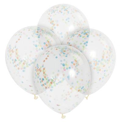 Genomskinliga ballonger med konfetti
