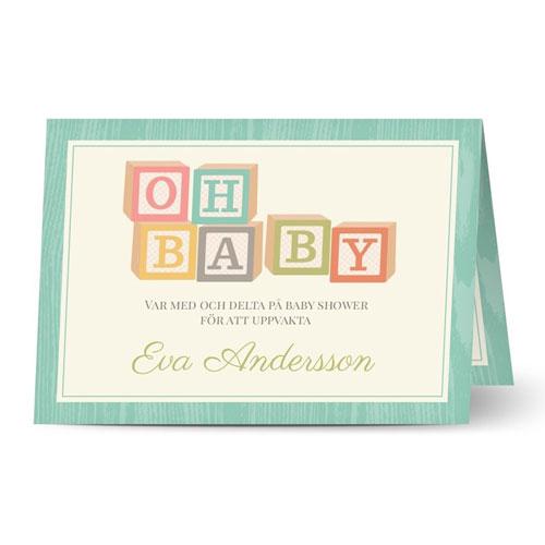 Liggande inbjudningskort med babyklossar