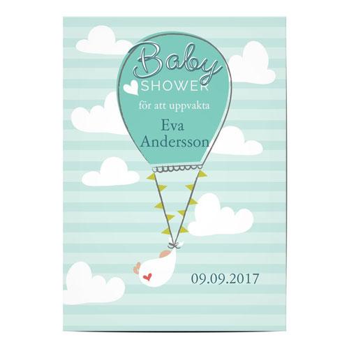 Grönt inbjudningskort med luftballong