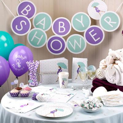 Dekorationer till baby shower i samma tema