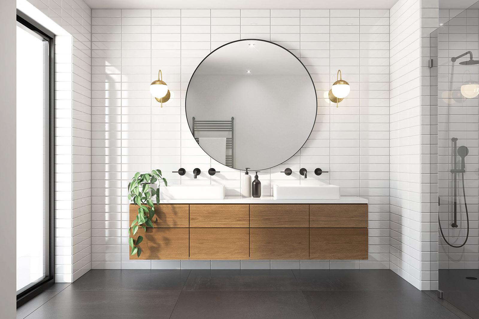 Vi tillhandahåller både natursten, kakel och klinkers vid badrumsrenovering i Linköping! Självklart kan ni mixa och matcha bäst ni vill med både sten och keramiska plattor: som här.