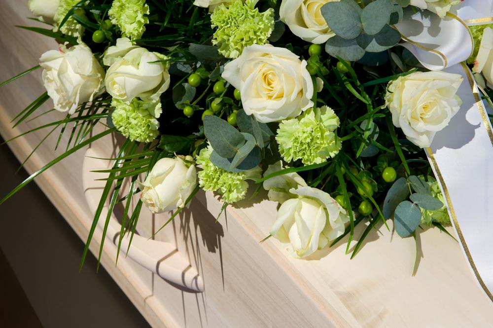 blommor vid en begravning