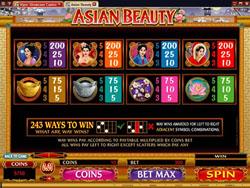 Asian Beauty Slot Pay table