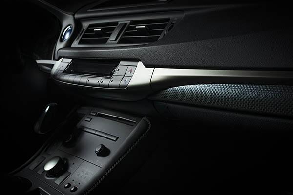 svartgrå interiör i bil hos bilhandlare Borås