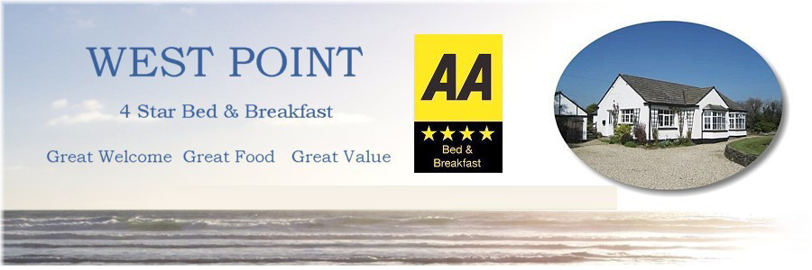 Bude bed and breakfast 4 star b & b accommodation at Westpoint, Crimp, Bude, Cornwall