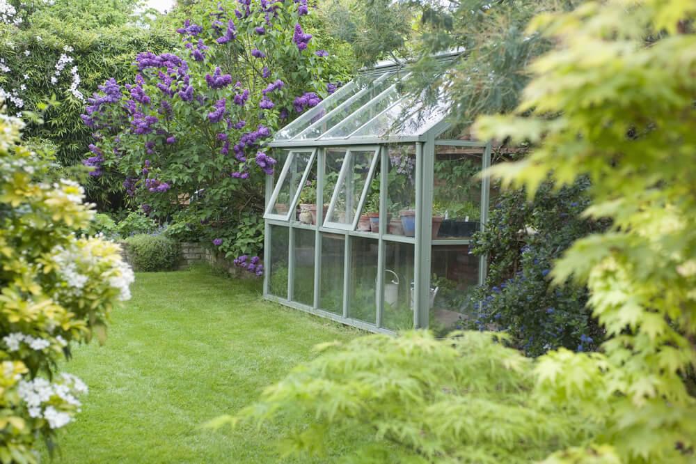 växthus i trädgård