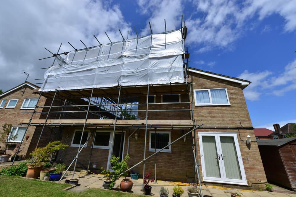 byggställning fasadrenovering