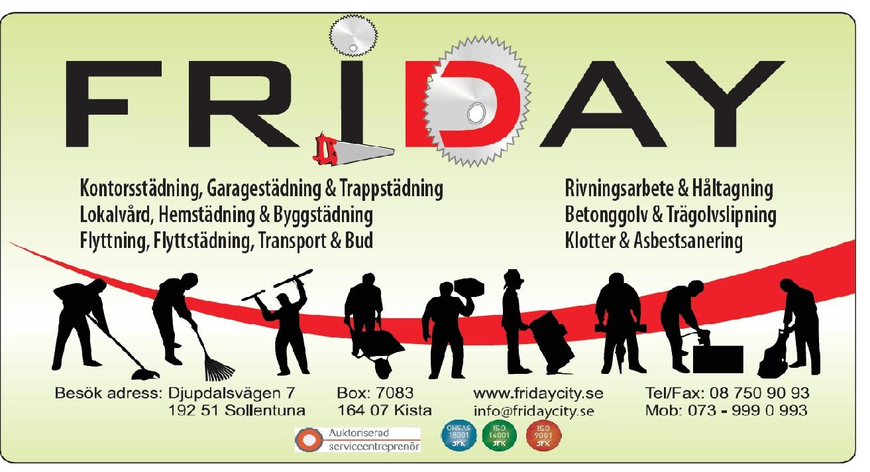 Friday logo byggstädning Stockholm