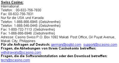 Swiss Casino Kontakt Details