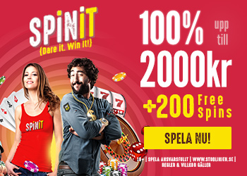Spinit.com Welcome Bonus 100% up to 2000 SWE SEK