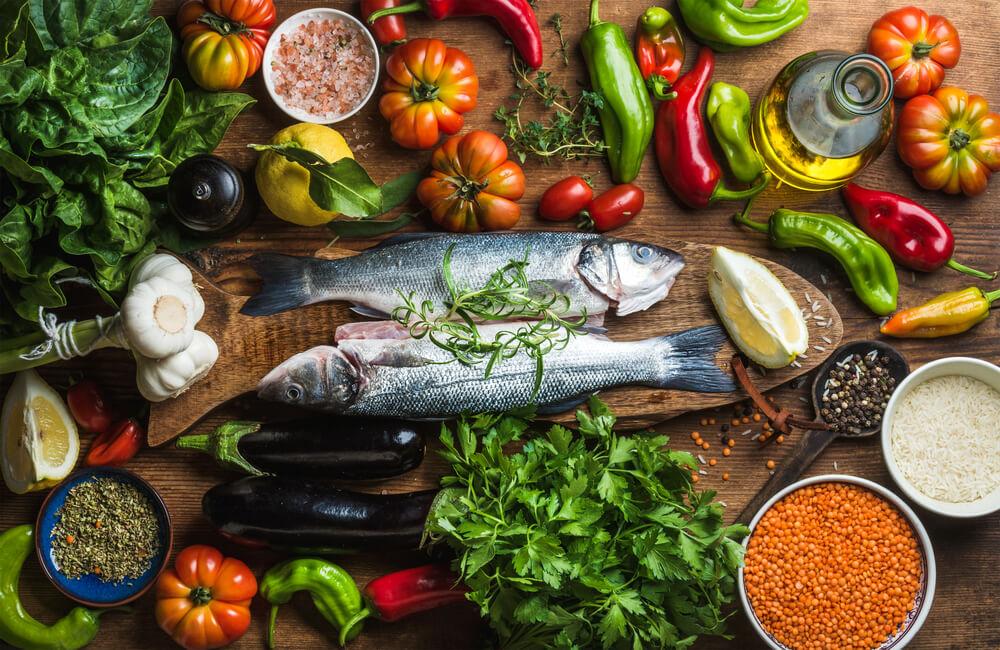 grönsaker och fisk