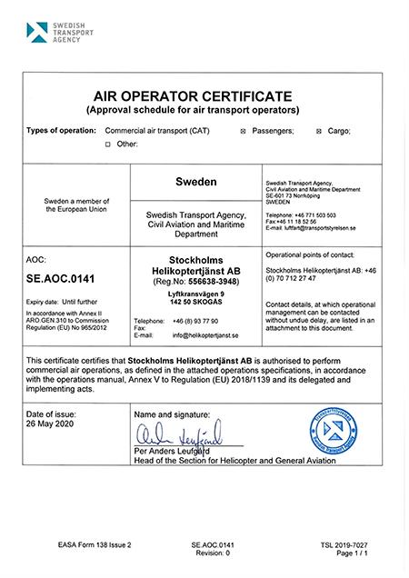 Vår certifiering av Transportstyrelsen för att få flyga och bedriva helikopterlyft.