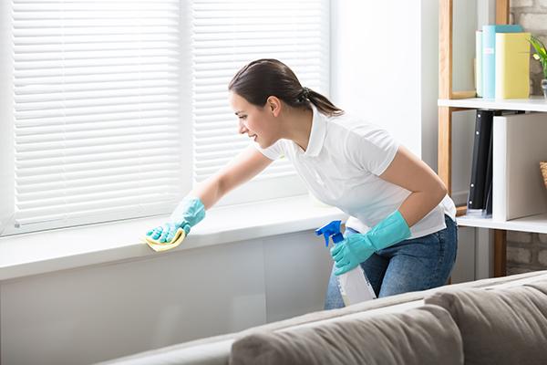 hemstädnings tjej gör rent hus