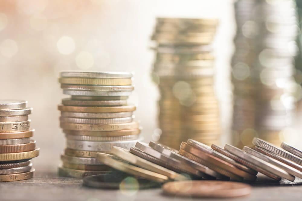 mynt på hög