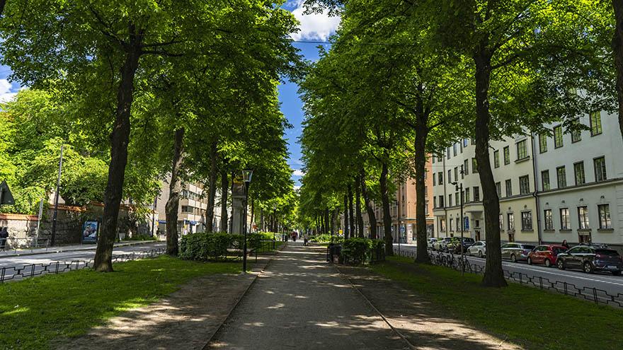 Karlavägen på Östermalm, där vi jobbar som mäklare på Östermalm.