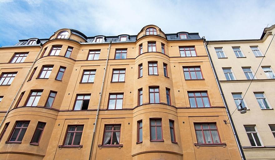 Husfasad i Vasastan i Stockholm.