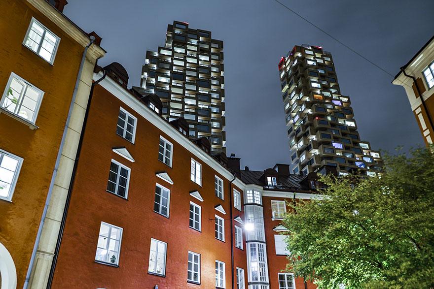 Vasastan i Stockholm, Norrbackagatan med Norra Tornen i bakgrunden.