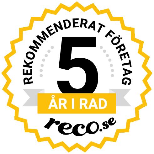 rekommenderad målerifirma fem år i rad hos Reco.se