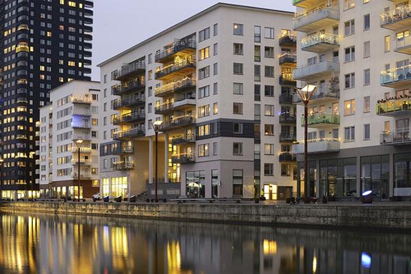 nybyggt bostadsområde i stockholm