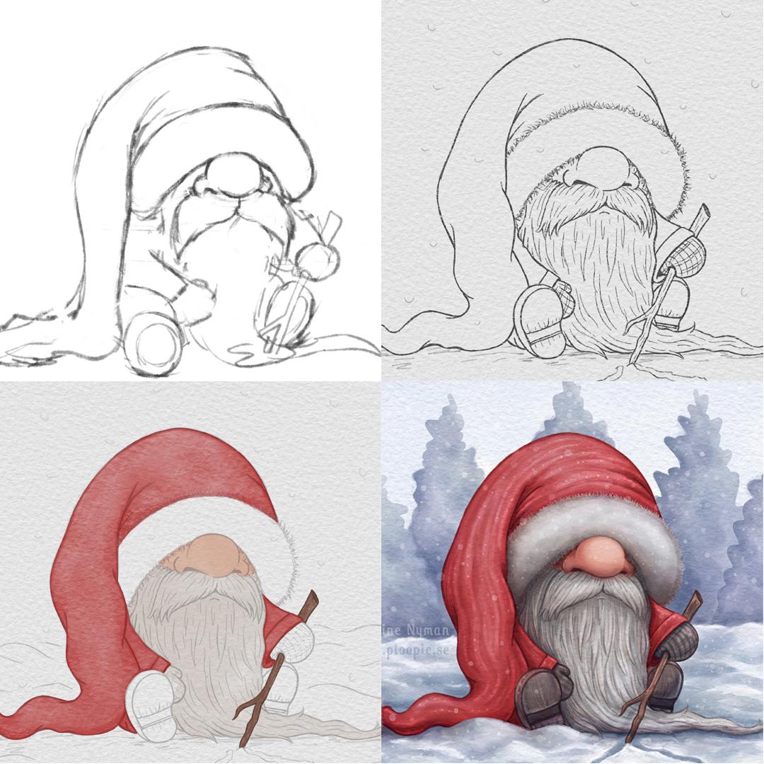 Lonely Little Santa progress by Caroline Nyman