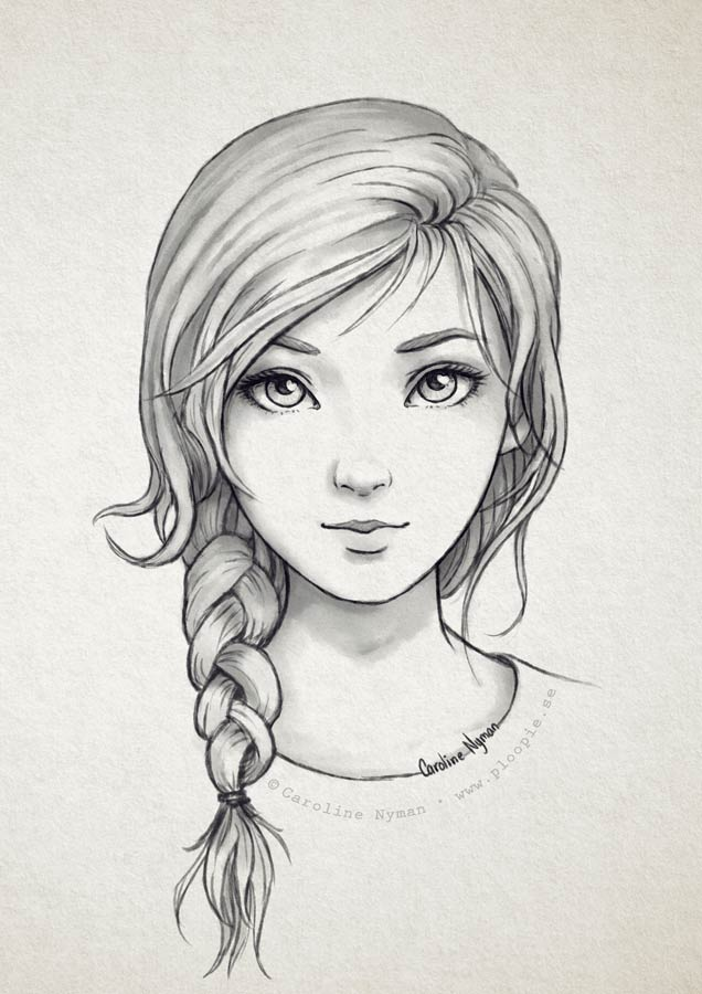 Simple Pencil Drawing Of Girl The Image