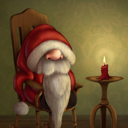 Little Santa in a rocking chair by Caroline Nyman