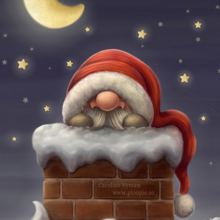 Little Santa in a chimney by Caroline Nyman
