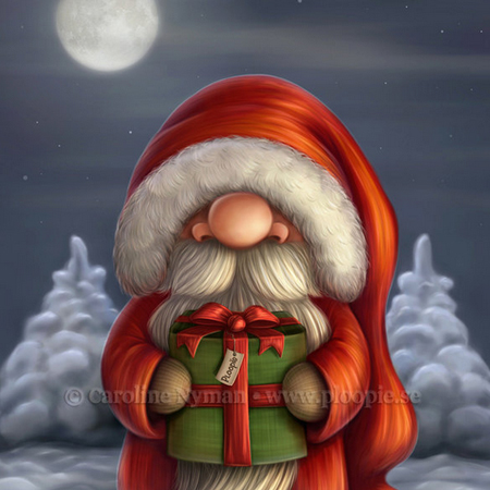 Little Santa with a gift by Caroline Nyman