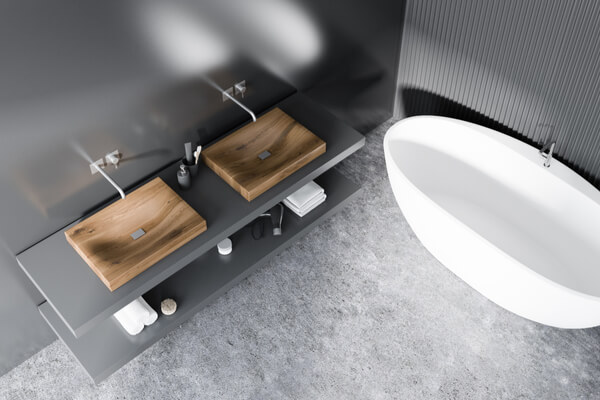 Modern badrum från ovanför