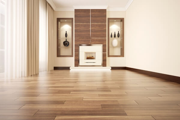 Lyxig vardagsrum med stilig golv