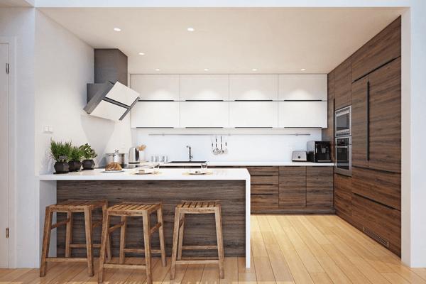 Modern kök med trä detaljer