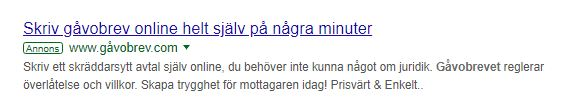 Exempel på en Google annons
