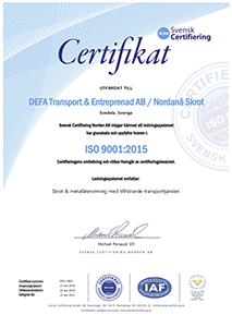 SCAB - Svensk Certifiering - ISO 9001:2015