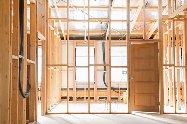konstruktion av ny planlösning inomhus