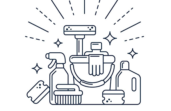illustration av städredskap