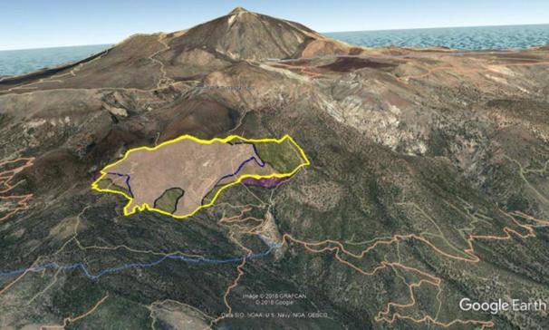 Skogsbrandens utbredning på Teneriffa