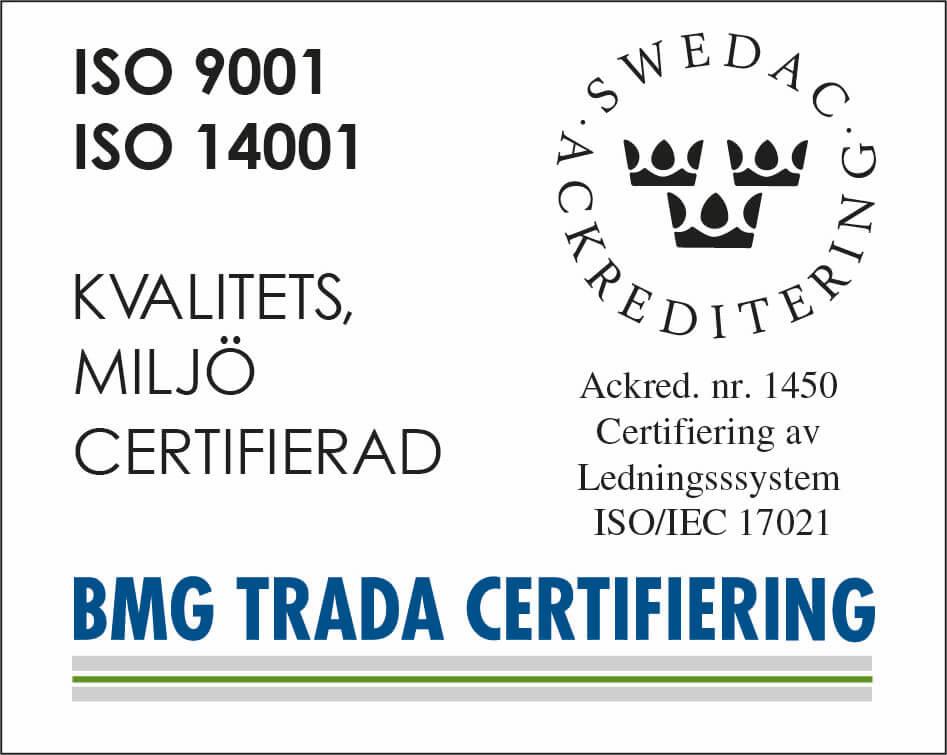 Miljöcertifikat från BMG TRADA Certifiering, ackrediterade av Swedac.