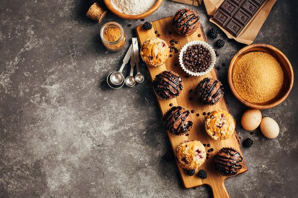 Nybakade muffins