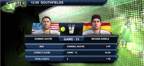 Playtech's virtual tennis game match up