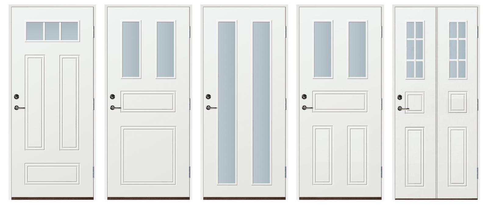 I vårt ordinarie utbud av ytterdörrar i Stockholm tillhandahåller vi bland annat ytterdörrar, med glas – som här. I tillägg finns även en rad andra tillval! Ni väljer nämligen färg och storlek, helt själva.